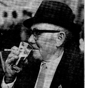 Billy Fitzpatrick enjoying a 5oz glass of beer at the Harp