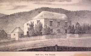 The earliest image of the Bush Inn in the 1830s