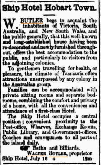 An advertisement in the Cornwall-Chronicle, Launceston, June1865.